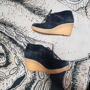 Cole Haan black suede lace up booties 7.5